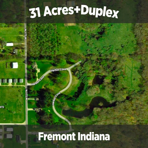 31+/- acres of land including duplex home, building lots, woods & ponds.