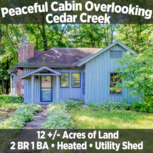 Private 2 Bedroom 1 Bathroom Cabin Overlooking Cedar Creek in Leo, IN