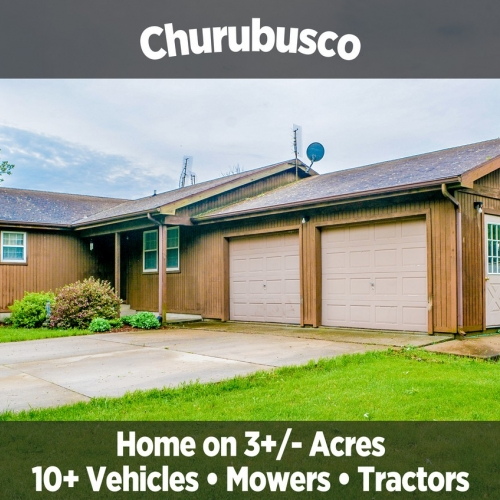 Charming Churubusco Home on 3+/- Acres & 10+ Vehicles