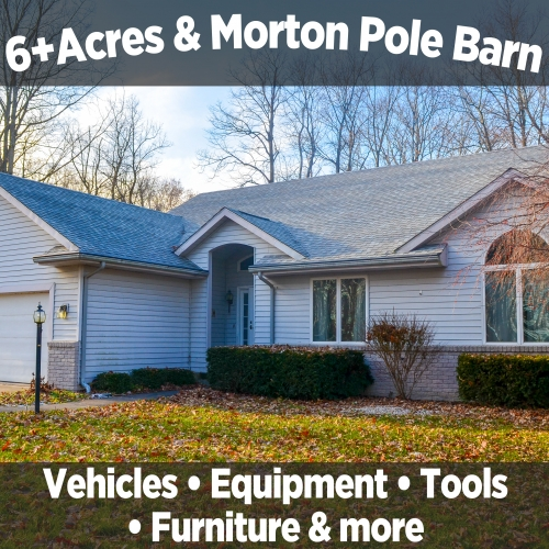Beautiful 4 bedroom, 2.5 bath home on 6+/- acres & 48x75 Morton pole barn